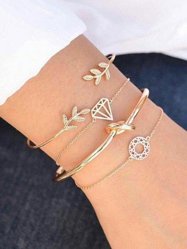 6a9b29c1a9f7 Pulseras de cadena de oro 4 piezas Conjuntos de pulsera para mujeres-No.1  ...