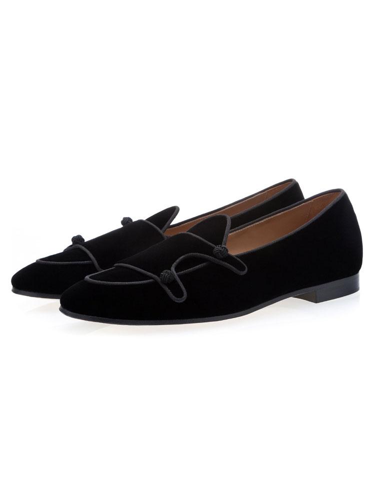 10875152cac Hombres Zapatos Negro Terciopelo 2019 Puntera Redonda Diseñada Ponte En Los Zapatos  De Zapatos Casuales- ...