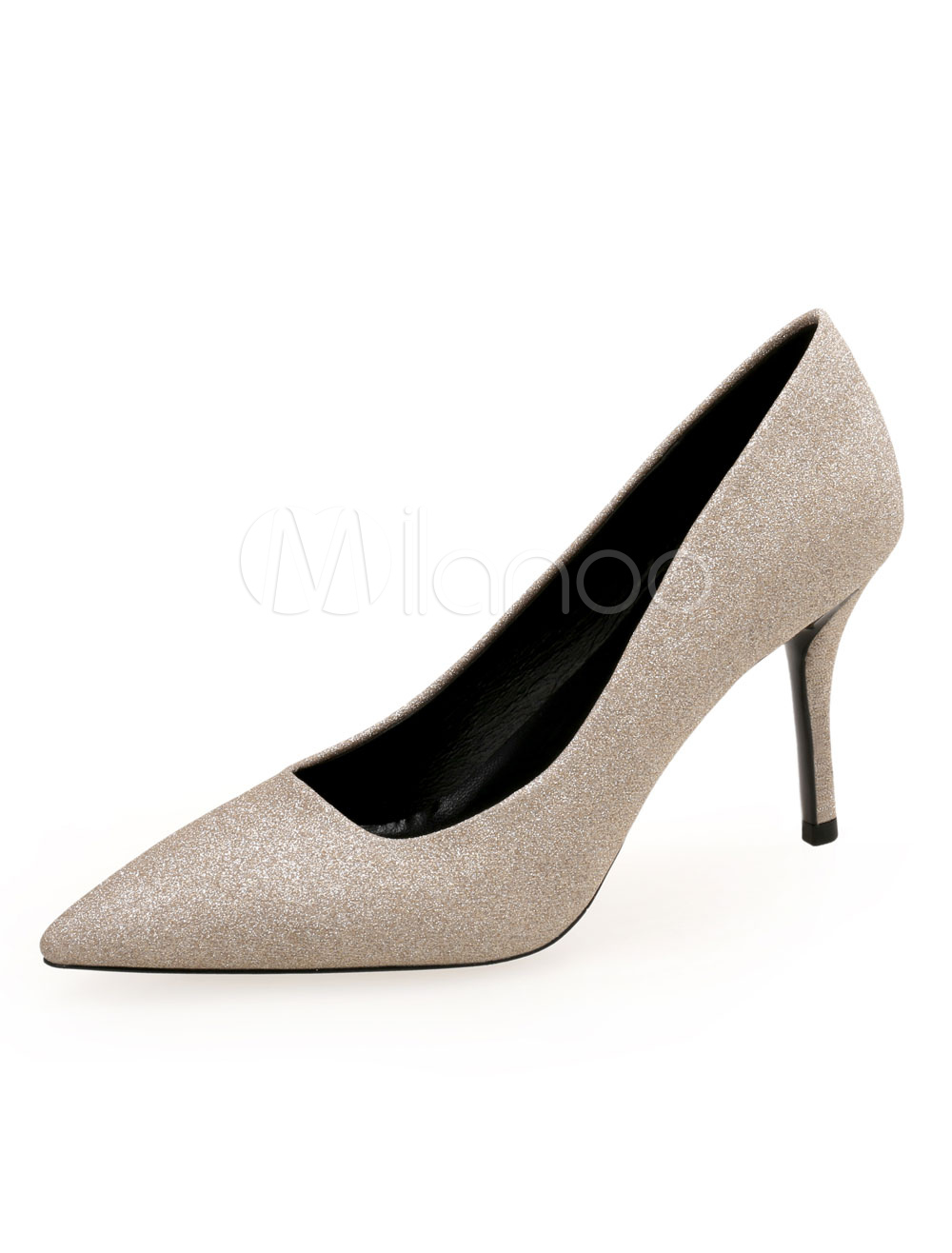 cf8fabc750b2 Women High Heels Glitter Pointed Toe Slip On Pumps Gold Party Shoes ...