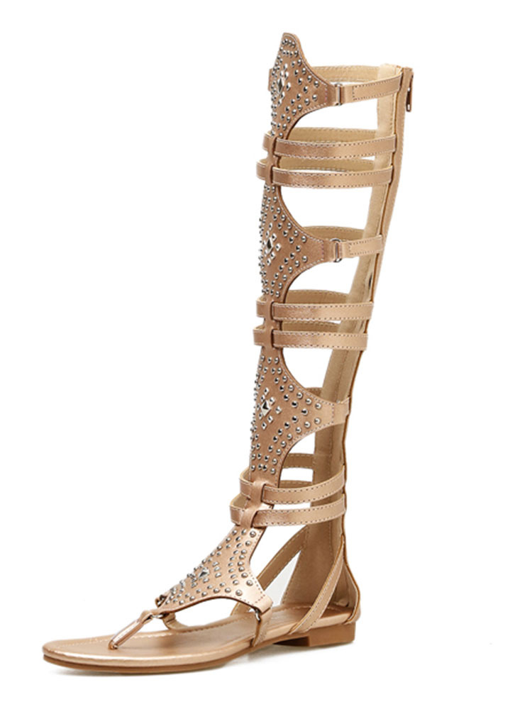 4c9e2942d28e2 ... Gold Gladiator Sandals Women Thong Beaded Cut Out Strappy Flat Sandals-No.2  ...