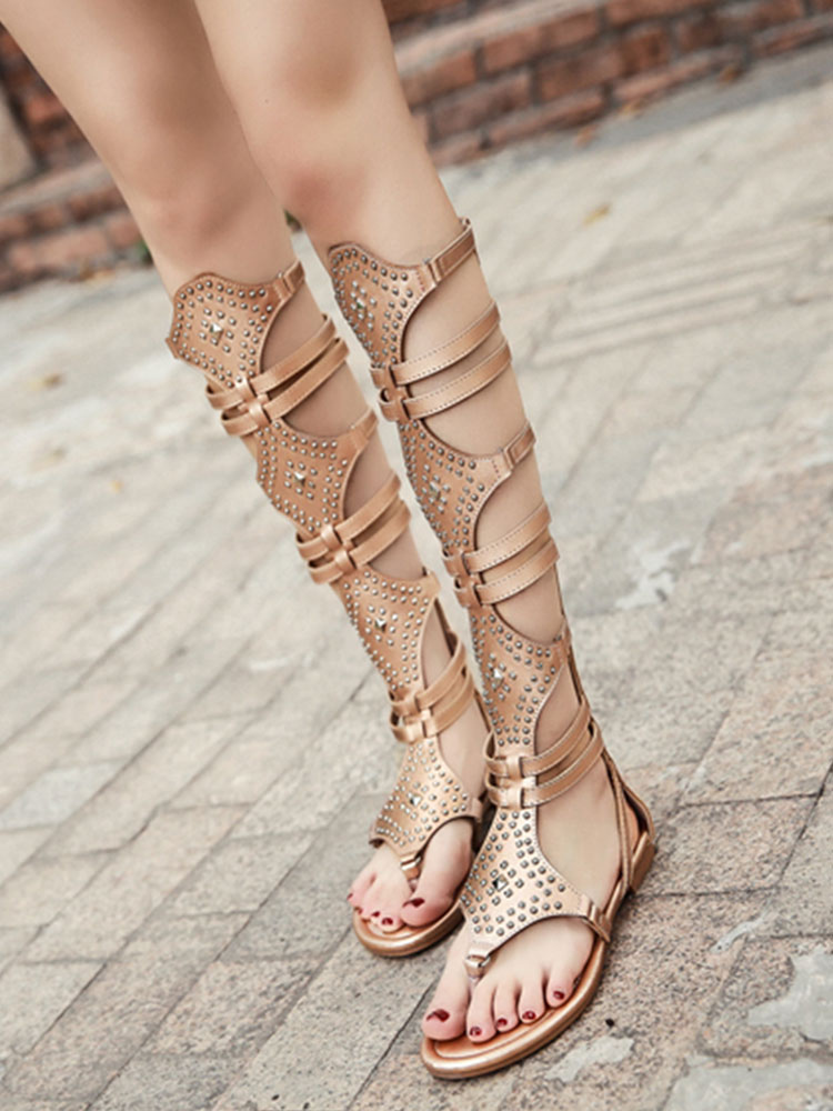 040d932e15f0a Gold Gladiator Sandals Women Thong Beaded Cut Out Strappy Flat Sandals-No.1  ...