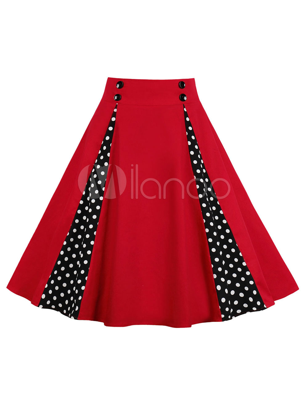 f2ae7f4e873 Vintage Swing Skirt 1950s Red High Waisted Buttons Polka Dot Cotton Summer  Skirt-No. 1. 35%OFF. Color Red