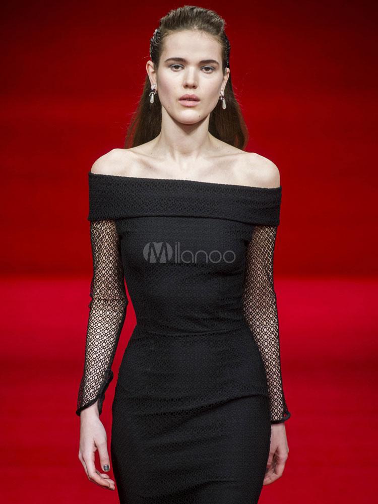 003cbba0c1 ... Maxi vestido de fiesta de encaje negro manga larga fuera del hombro  formando vestido-No ...