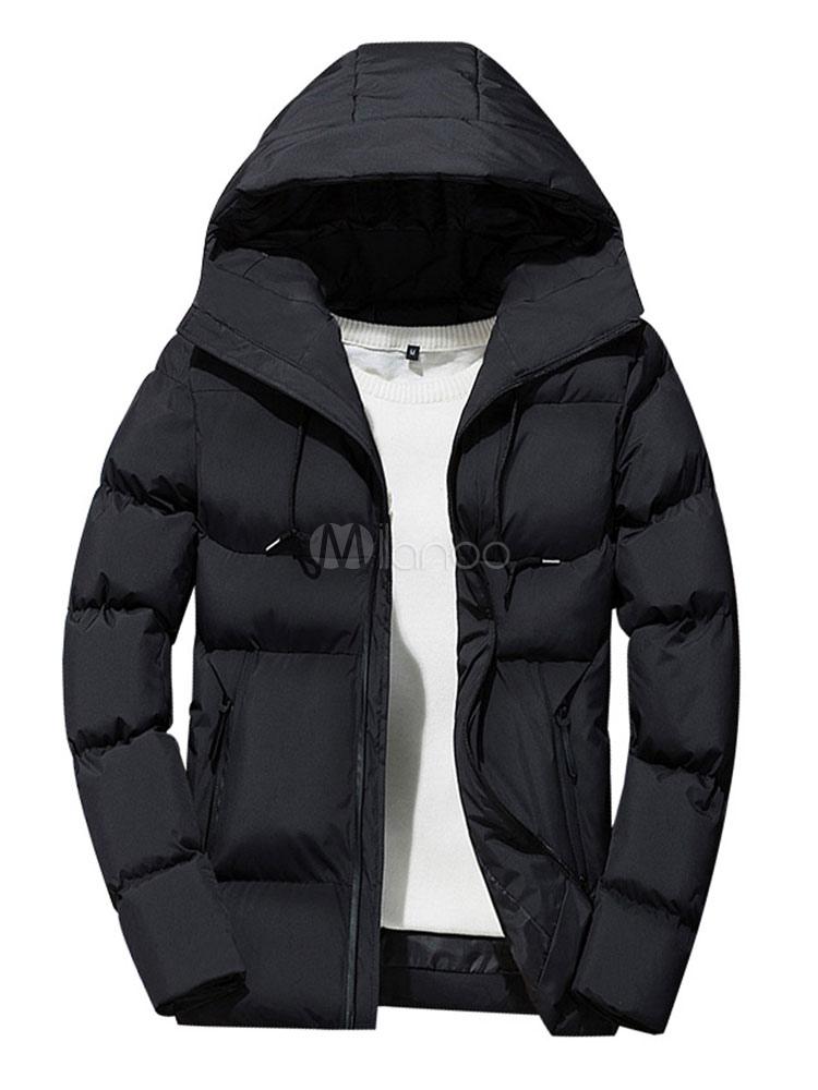 Chaqueta Invernal de Hombre 2019 Abrigo Puffer con Capucha Cremallera Cordón Casual Abrigo Acolchado