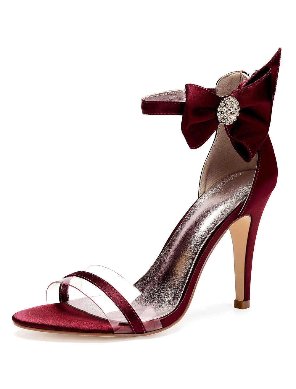 Satin Mother Shoes Burgundy Open Toe