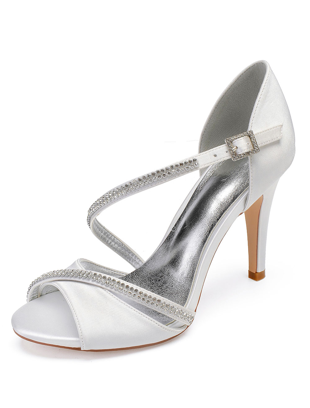 324d0c216e4 Ivory Wedding Shoes Satin Peep Toe Rhinestones Strappy Mother Shoes High  Heel Bridal Shoes
