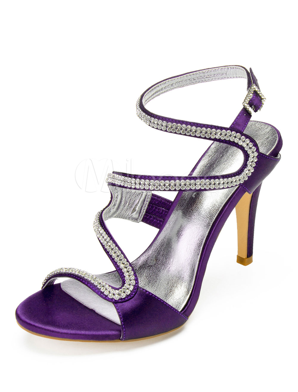 997c352dac75c Purple Mother Shoes Satin Open Toe Rhinestones Strappy Wedding Shoes High  Heel Sandals-No. 123. 30%OFF. Color:Plum