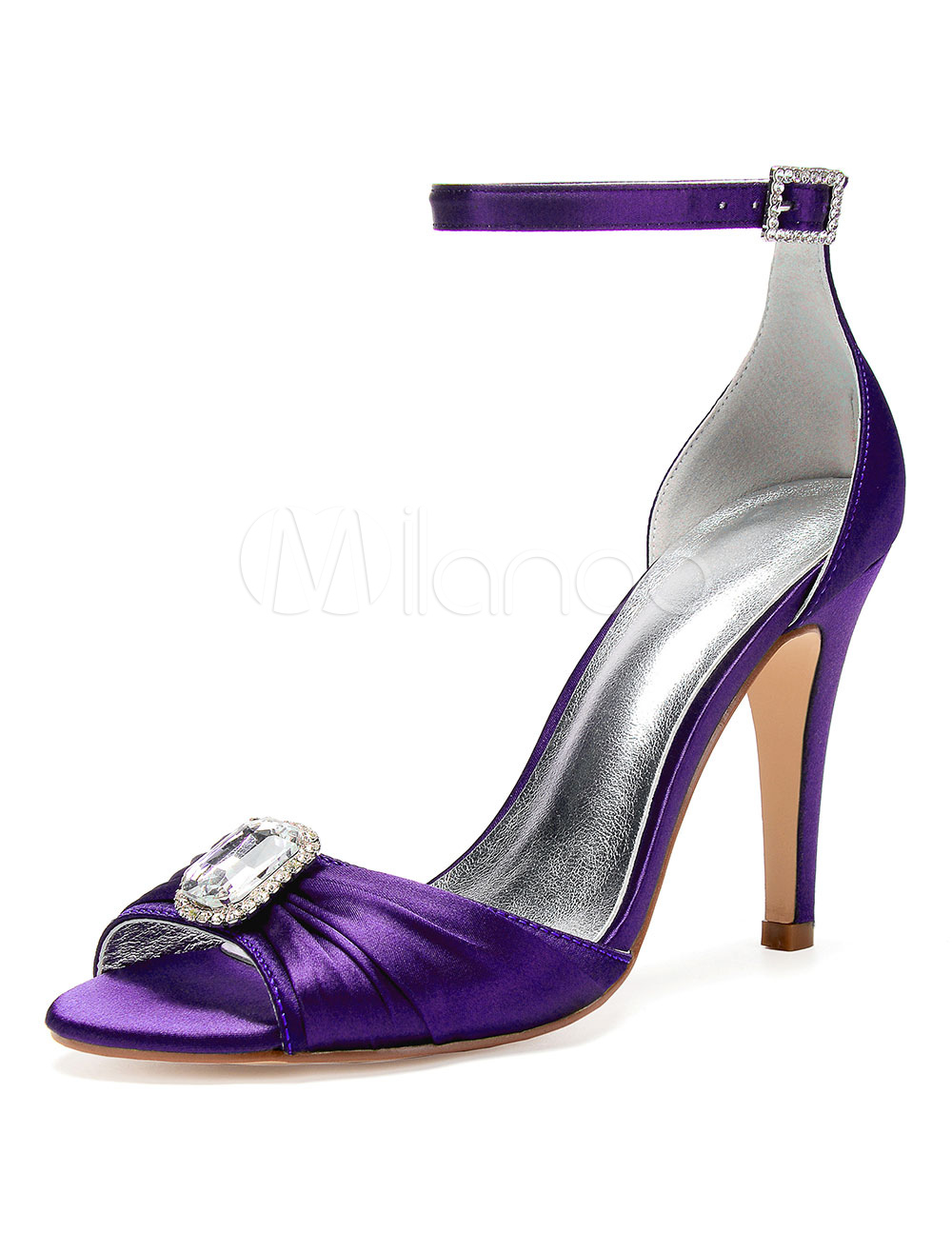7fceed056b Satin Mother Shoes Purple Open Toe Rhinestones Wedding Shoes High Heel  Bridal Sandals