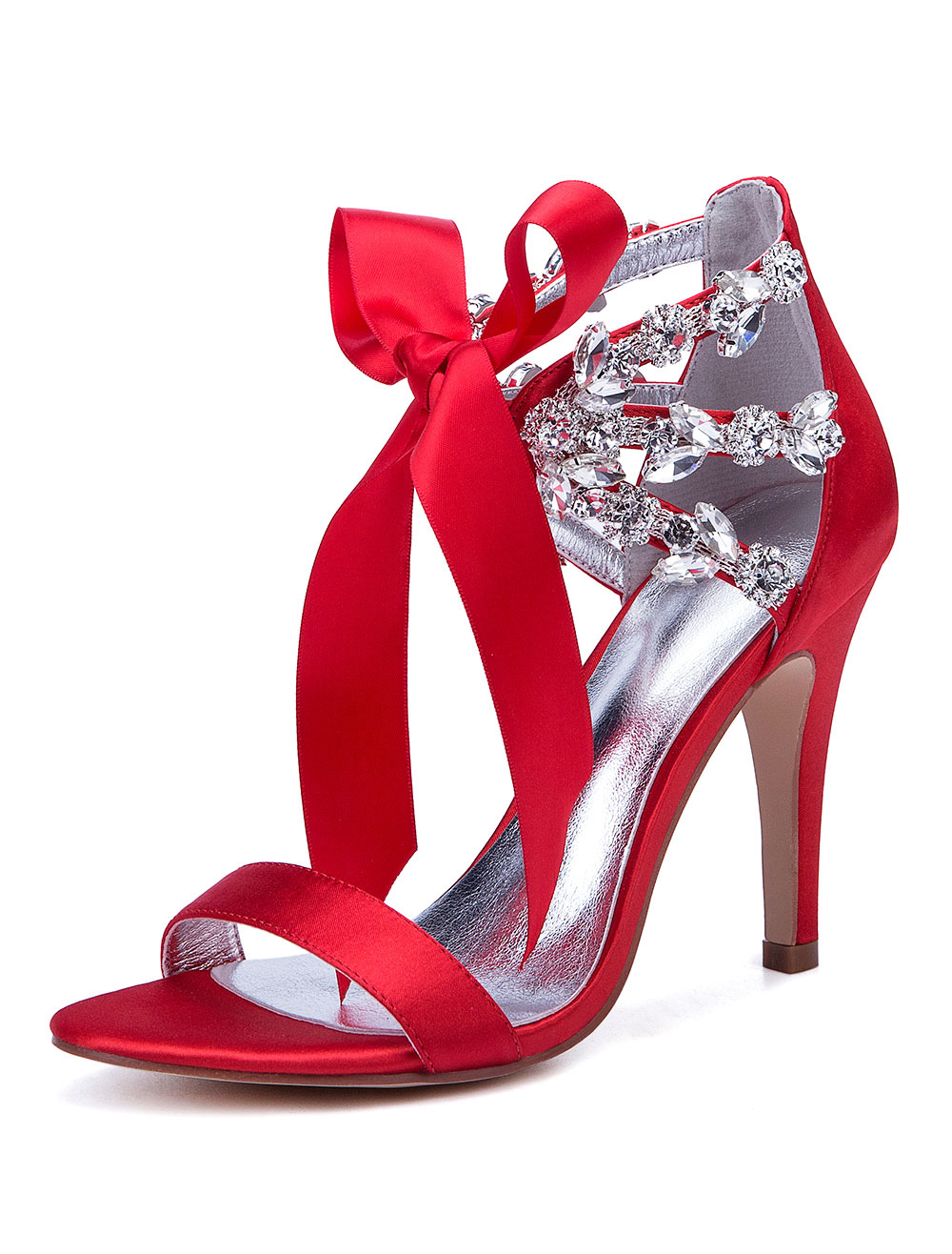 b7d9a79c36 Satin Wedding Shoes Red Open Toe Rhinestones Lace Up Bridal Shoes High Heel  Sandals