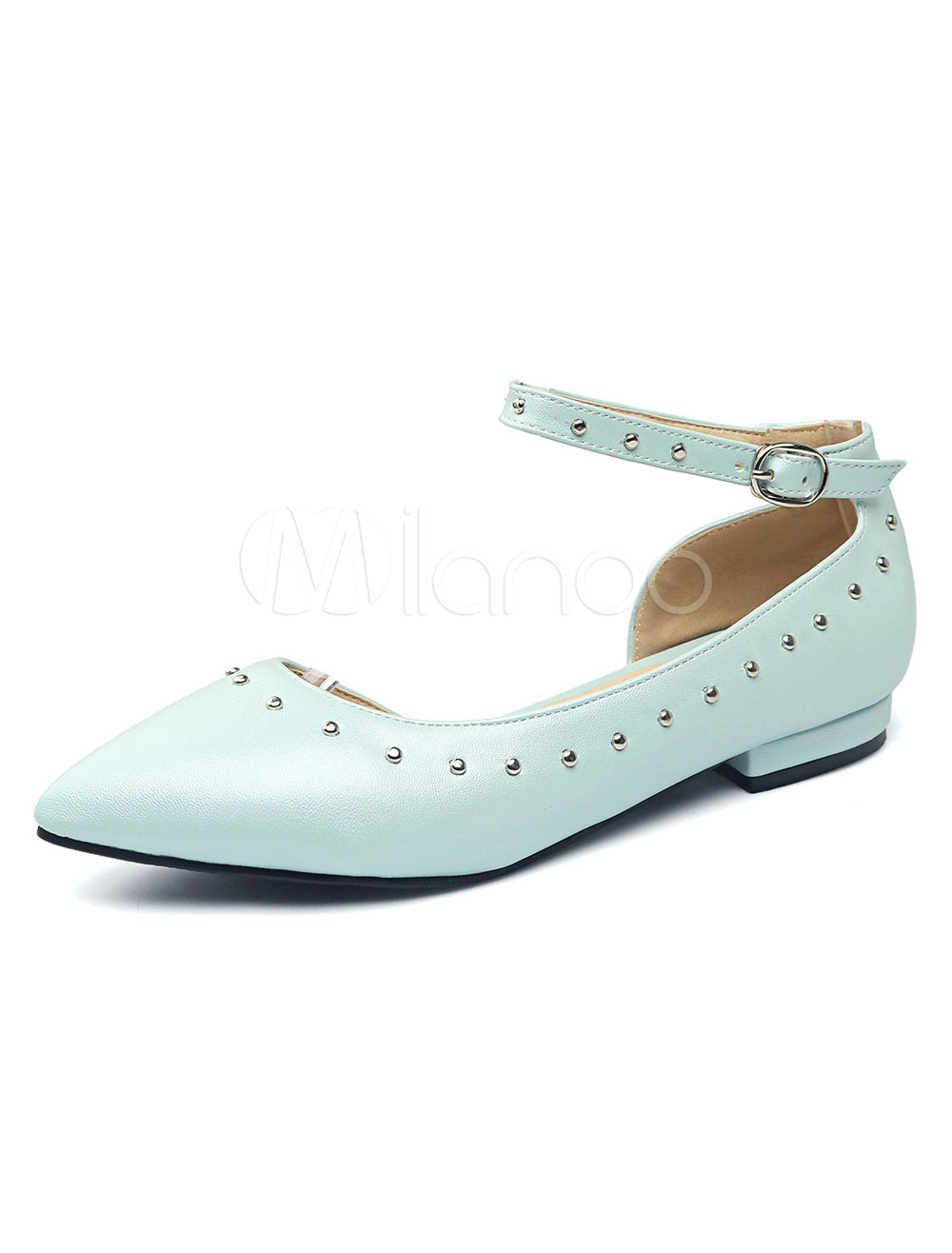 f85327d8c Blue Ballet Flats Women Pointed Toe Beaded Ankle Strap Flat Pumps ...