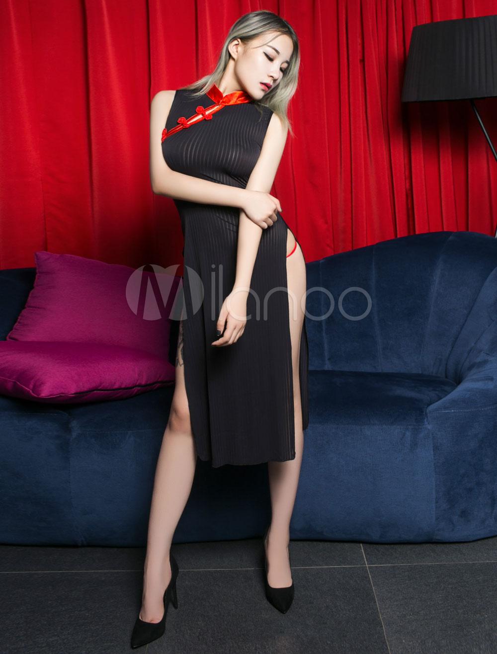 448011aea Sexy Chinese Costume Qipao Dress Sheer Cheongsam Night Lingerie ...