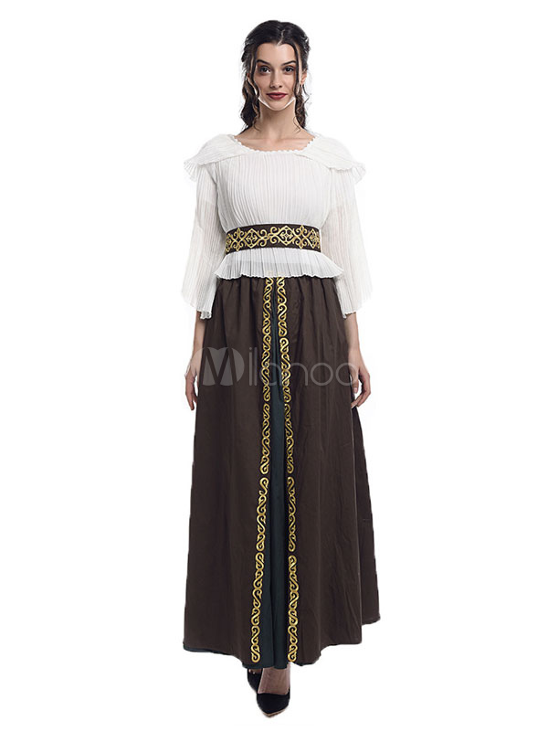 Vestido Retro Victoriano Halloween Mujer Renacentista Medieval Blanco Real De Traje w0knOP