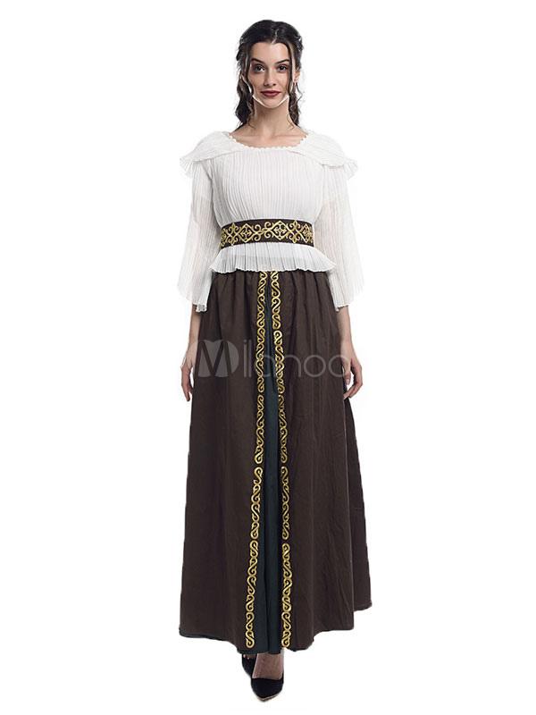 bcfb2ef0e Retro Costume Medieval Renaissance Dress Royal Women White Victorian  Gown-No.1 ...