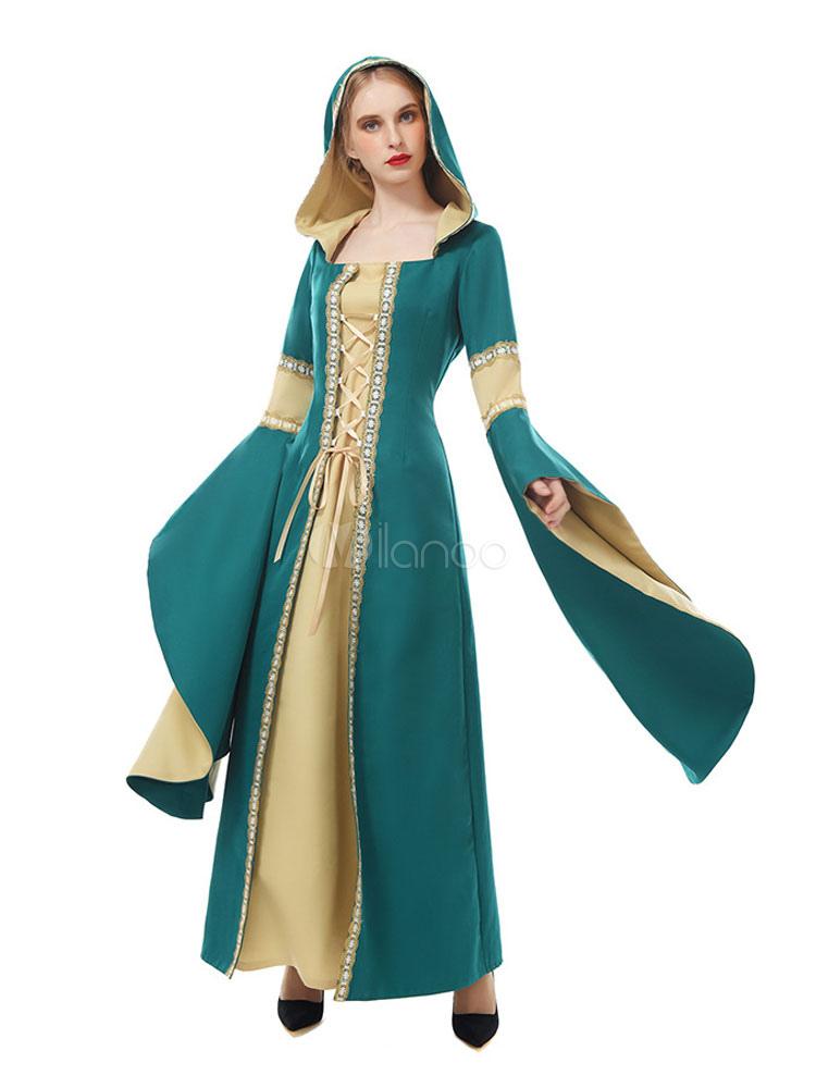 cc6b4ef7d7b Mujer Vestido Campana Medieval Renacimiento Larga Retro Manga Traje nPXOk8w0