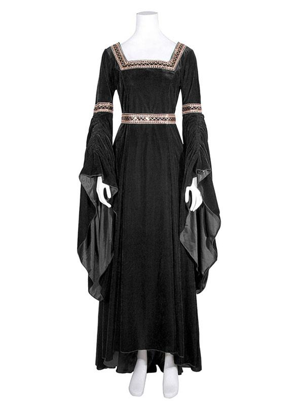 37d24b482 ... Traje medieval renacentista de halloween mujer gótico vestidos de manga  larga retro-No.5 ...