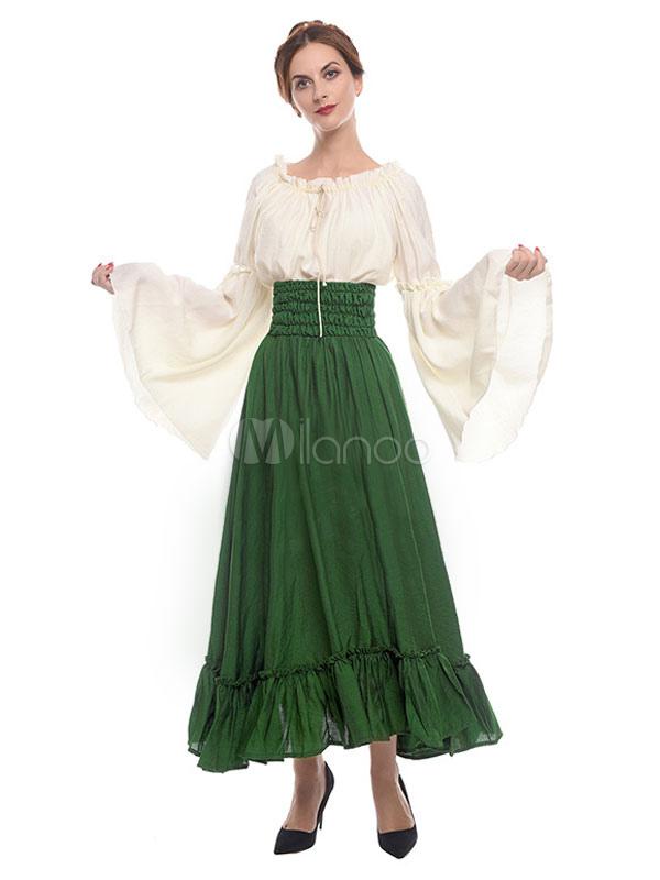 478772392d129 Medieval Renaissance Dresses Victorian Princess Cosplay Costume Women Retro  Bell Sleeve Ruffles Maxi Skirt And Top Set Halloween