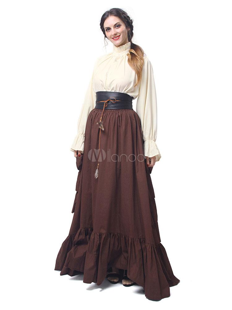 63f0d62e2cfa67 Viktorianisches Kostüm Retro Frauen Tiered Rüschen Langarm Chiffon Mittelalter  Kleider Halloween-No.1 ...
