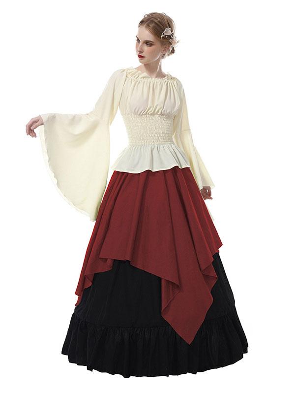77884219bd84 Abiti medievali da donna in chiffon a maniche lunghe retrò in costume  vittoriano Halloween-No ...