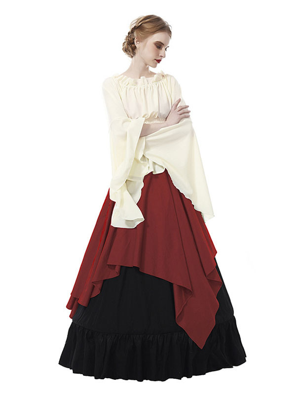 f7e7468e94f6 ... Abiti medievali da donna in chiffon a maniche lunghe retrò in costume  vittoriano Halloween-No ...