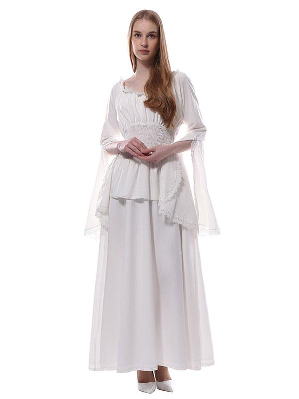 aa8e48d4c Vestidos Medievales Blancos Victorian Chiffon Maxi Disfraces de Halloween  Mujer-No.1 ...