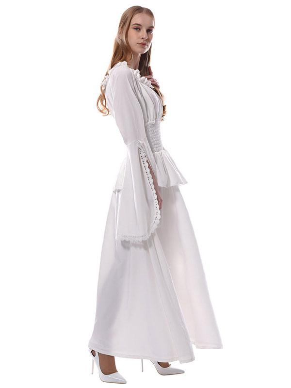 c39302f03 ... Vestidos Medievales Blancos Victorian Chiffon Maxi Disfraces de Halloween  Mujer-No.4