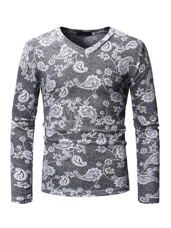 f23340777 Men Grey T Shirt Floral Print V Neck Slim Fit Long Sleeve Casual T Shirt-  ...