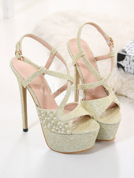 8a4f8bacfb32 Gold Evening Shoes Glitter Platform Open Toe Pearls Criss Cross High Heel  Sandals Women Party Shoes ...