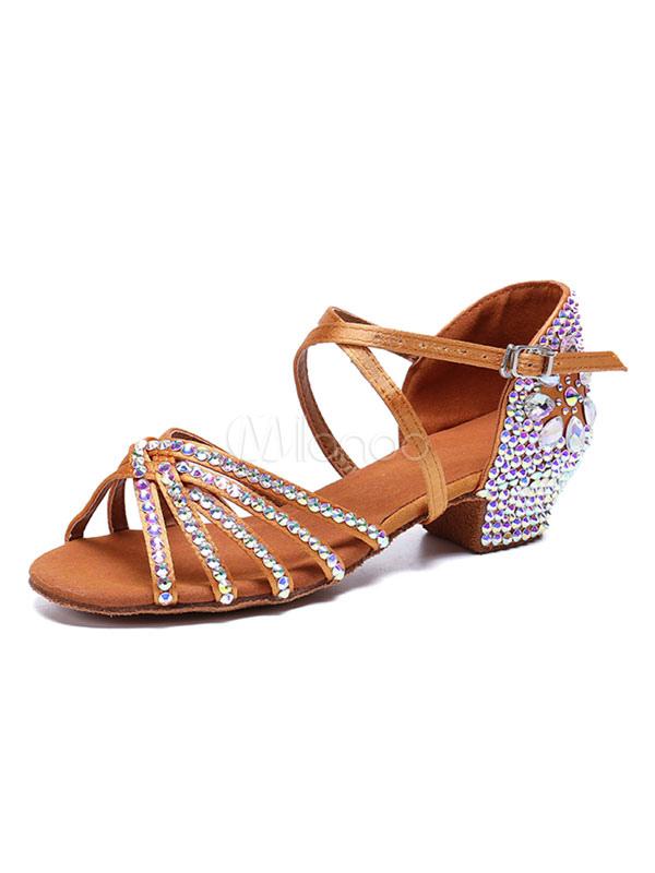 6afec405 Zapatos de salón de satén Marrones con punta abierta Criss Cross  Rhinestones Zapatos de baile latino ...