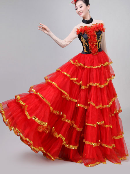 bd2e73942095 Paso Doble Dance Costumes Red Ruffles Bullfighting Flamenco Dance Dress  Layered Performance Costume-No.