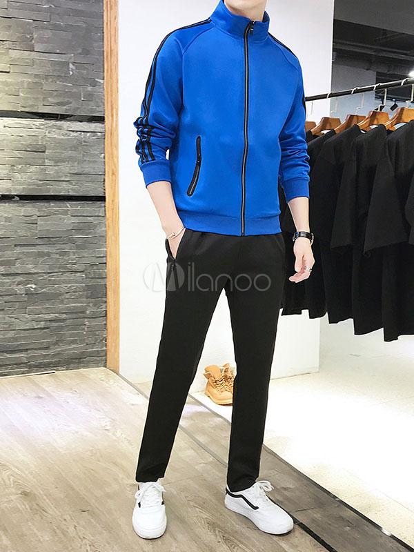 fe4fcbe8d03fc 2 piezas de ropa deportiva y talla grande para hombre con cuello en raya y  chaqueta ...