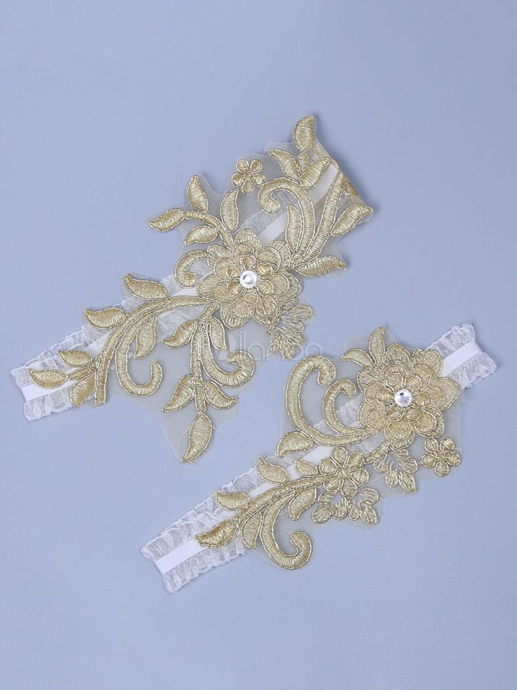 lowest price f0d17 9aa4e Gold Hochzeit Strumpfband Spitze bestickte Doppel Strass Braut Dessous  Zubehör
