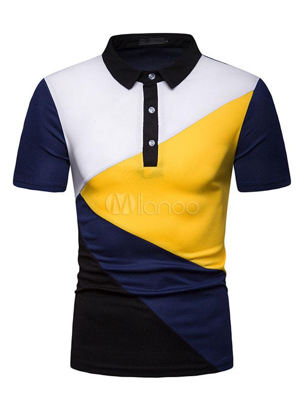 93471d716ffc ... Men Casual T Shirt Color Block Button Decor Slim Fit Short Sleeve T  Shirt-No ...