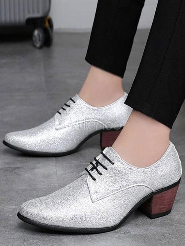 3345c0c4f Zapatos de baile de plata para hombres Zapatos de ascensor con punta  cuadrada y con cordones ...