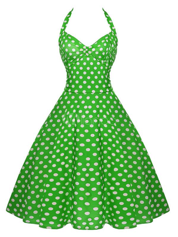 Vestido De Bolinhas Vintage Halter Vestido Retrô Atado Lace Up Pin Up Dress