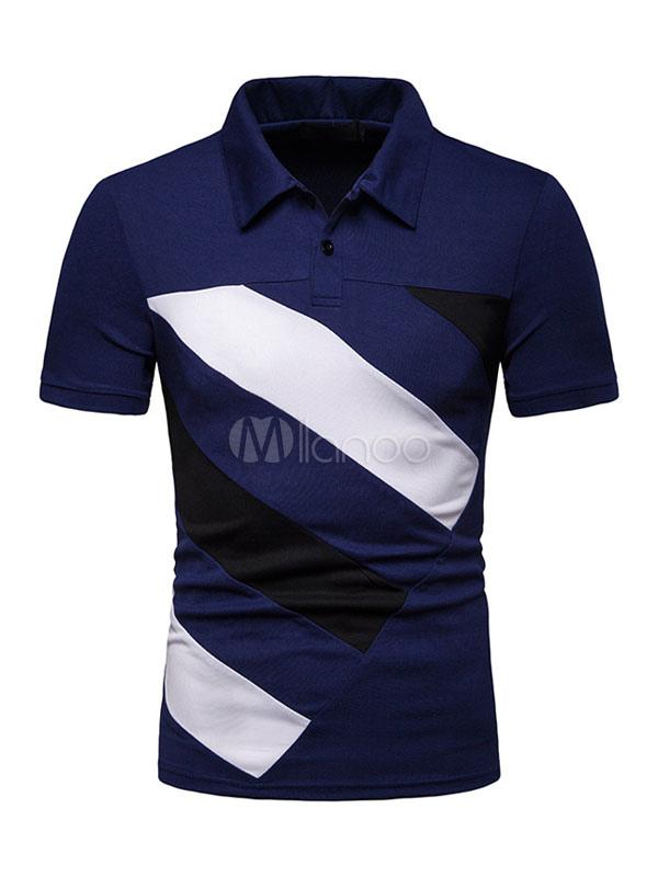 d4549c51b8 Homens camisa polo cor do bloco botão decoração azul marinho de manga curta  camisa ocasional t ...
