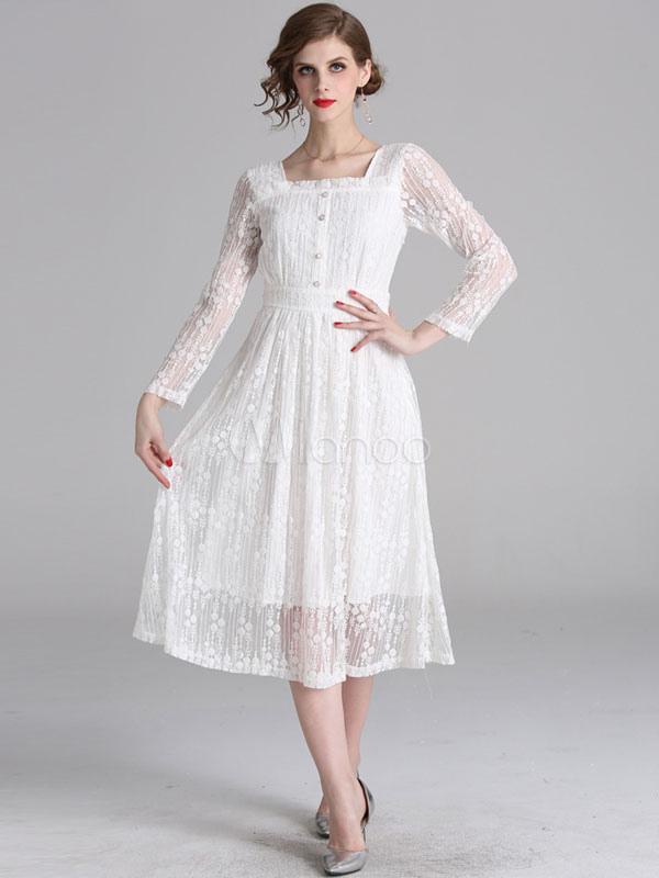 905b43fcf فستان دانتيل أبيض كم طويل فستان سهرة طويل - Milanoo.com