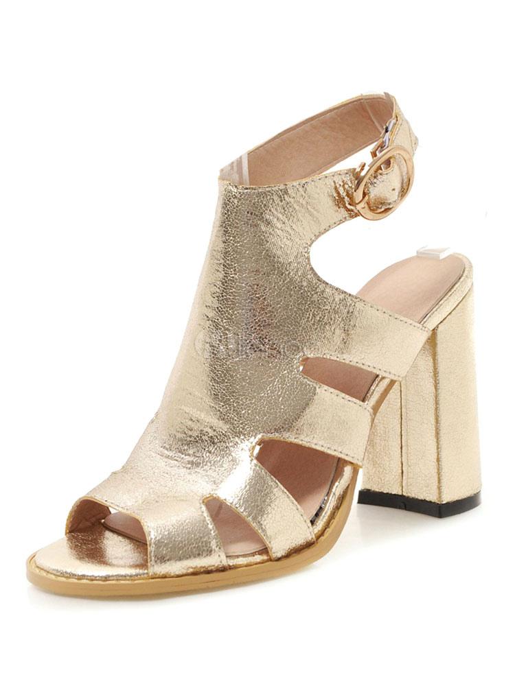 85fcb70c5a Gold Gladiator Sandals Women Peep Toe Cut Out Buckle Detail Block Heel  Sandals