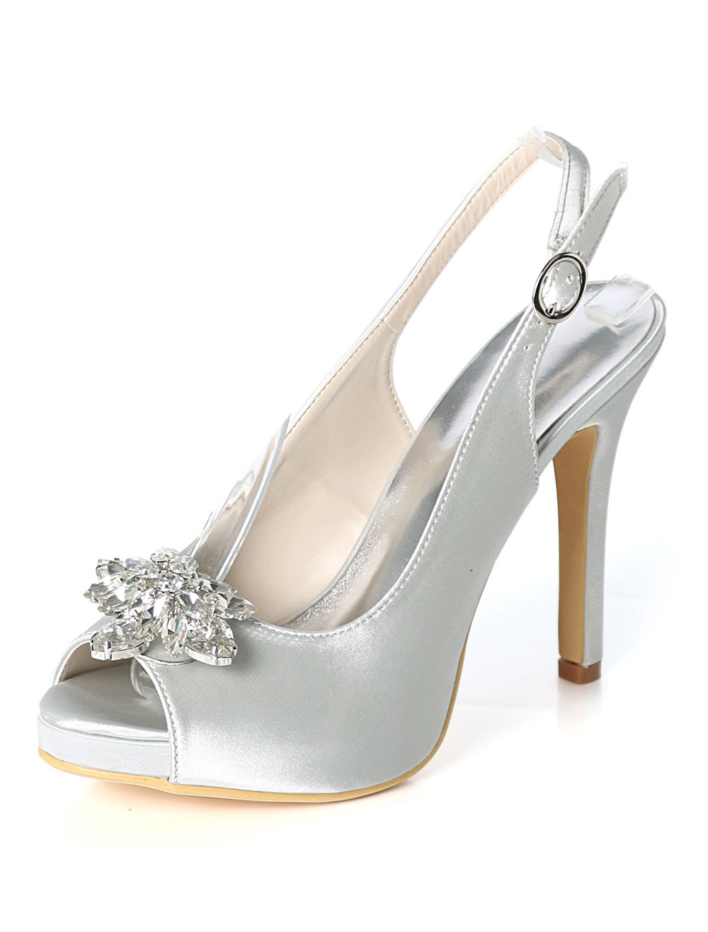 Silver Wedding Shoes Satin Peep Toe