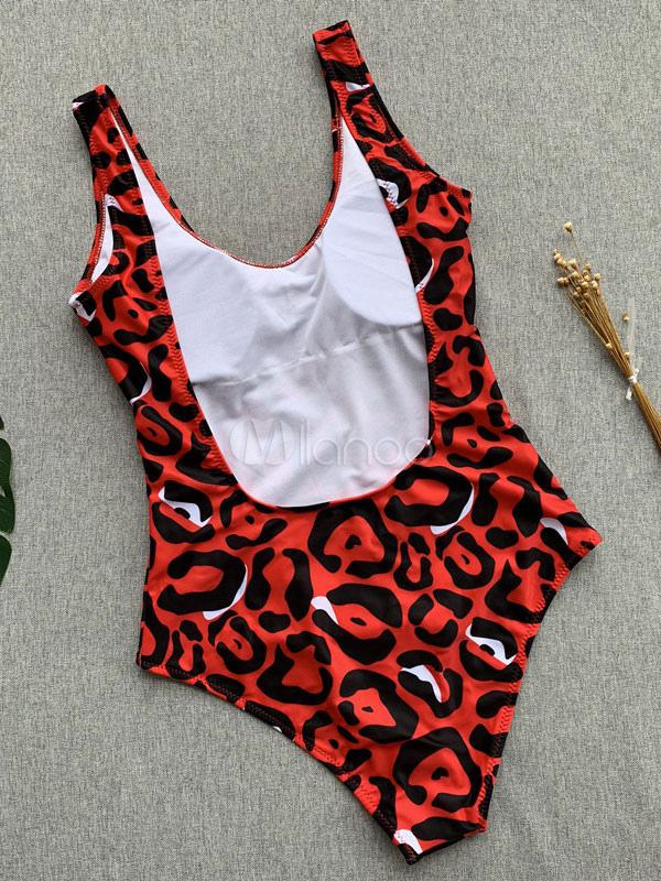 c91d671b249 One Piece Swimsuit Women Red Leopard Swimwear U Neck Backless Bathing Suits