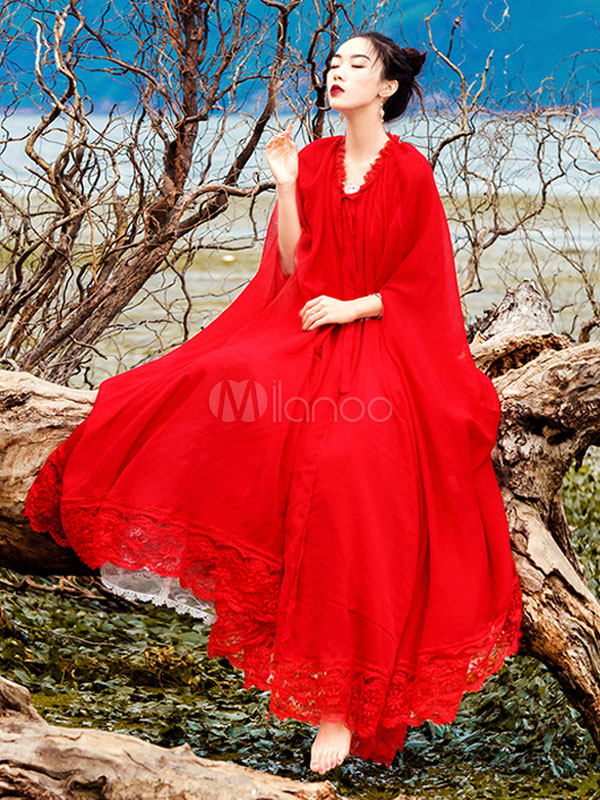 Red Maxi Dress Plus Size Chiffon Long Sleeve Lace Patch Beach Dress For  Women