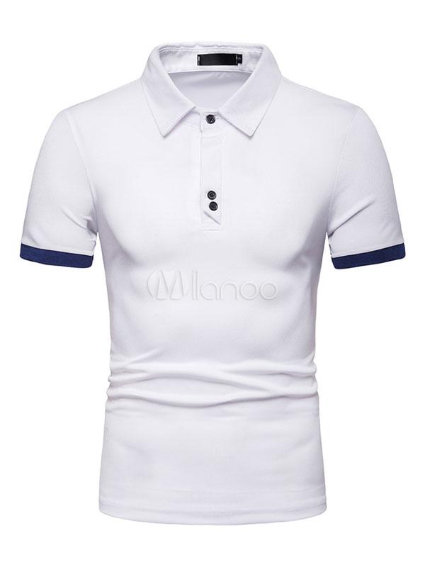 1d48721cab Homens camisa polo azul marinho botão decoração dois tons de manga curta  camiseta-No.