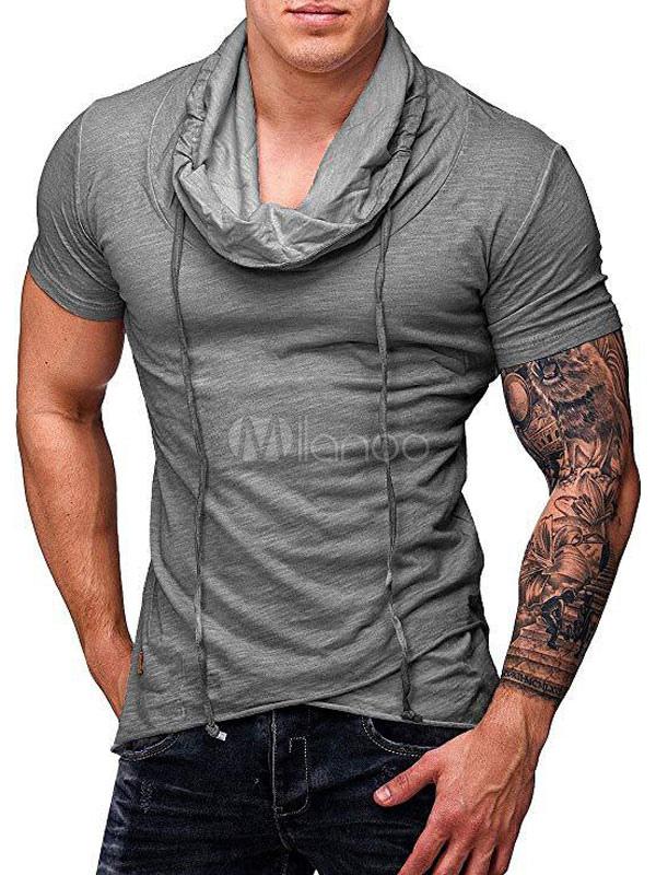 À Manches Décontracté Shirt 2019 Serrage Homme Encolure T Pour De Cordon Courtes Carrée lcJK31TF