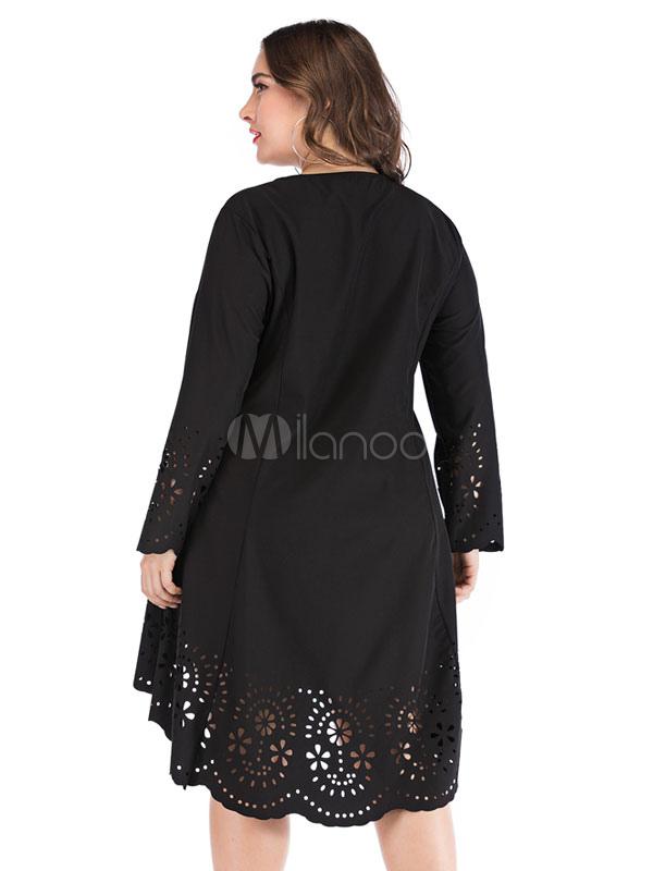 b156f01e0 ... Plus Size vestido preto manga comprida corta vestido Low Low Midi-No.3