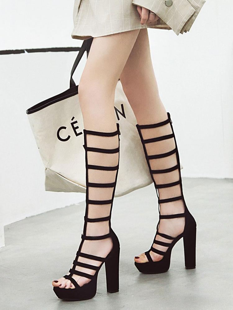 Black Gladiator Sandals Women Open Toe