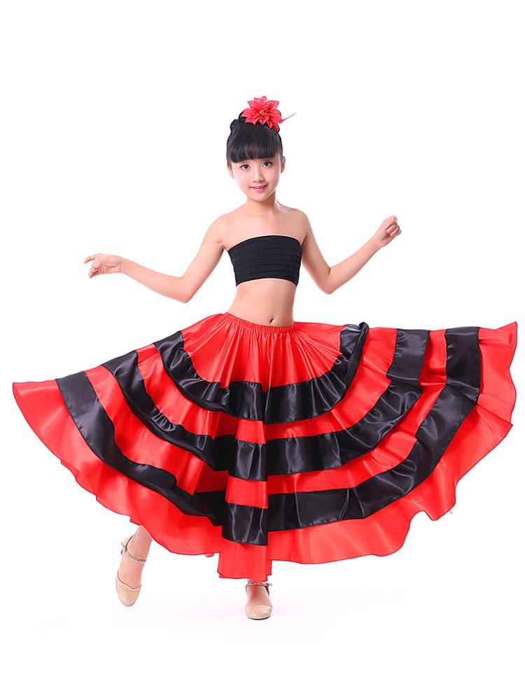 05a61c51bb0 ... Paso Doble Costume De Danse Pour Enfants Jupe De Flamenco Filles Rouge  Deux Tons Espagnole Fond ...