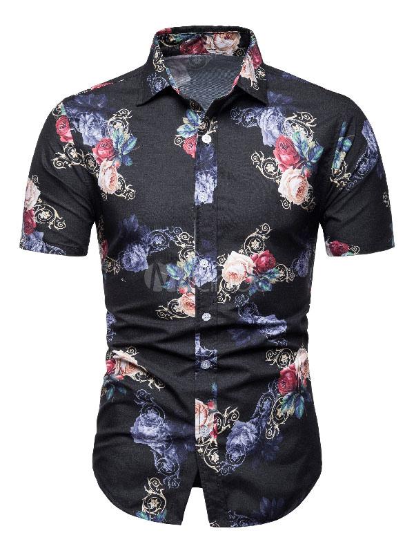 caab744815 Camisa Floral Masculina Imprimir Slim Fit Camisa de Praia de Manga Curta  Preta-No.