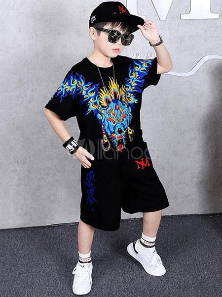 Hip Hop Dance Costume Street Dancing Boys Kids Printed T Shirts Shorts Set Halloween Milanoo Com