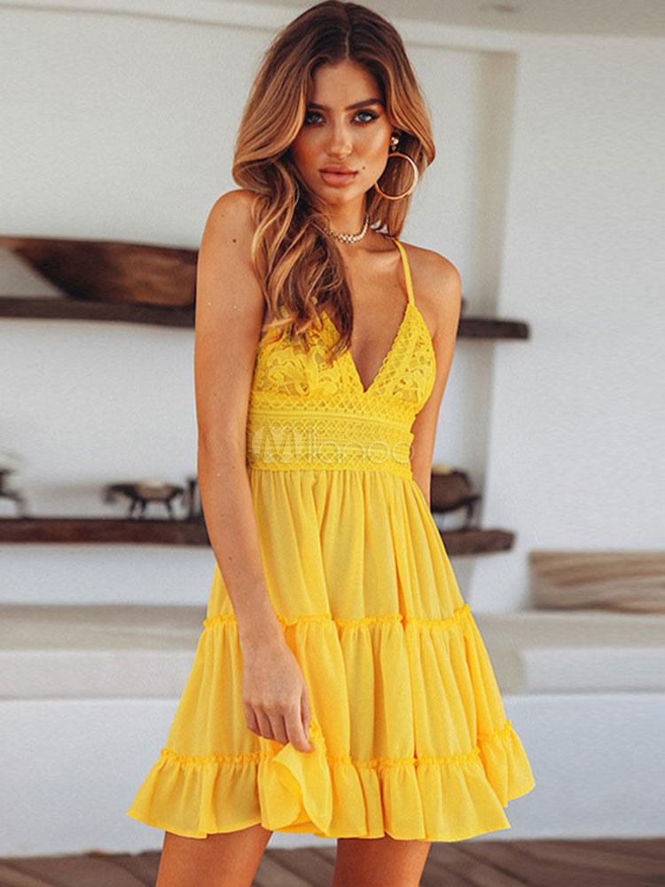 Sommer Kleid 2020 mit V-Ausschnitt Rüschen Spitze Pleated ...