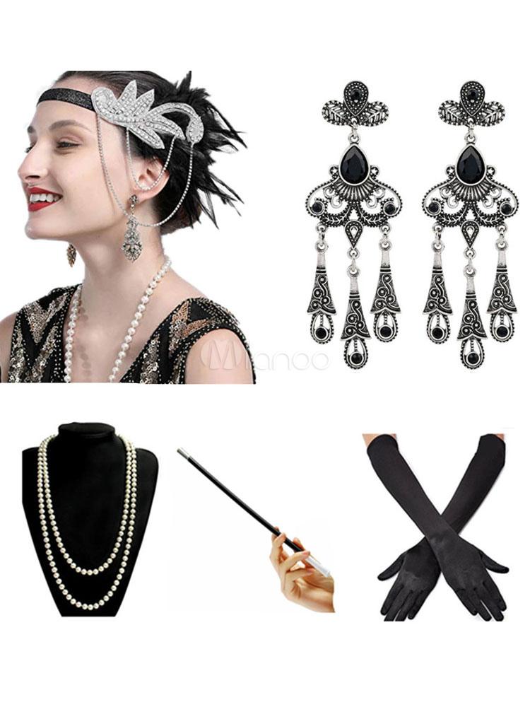 1920s Accessories Set Flapper Headband,Earrings,Pearl Necklace,Gloves,Net Tig...