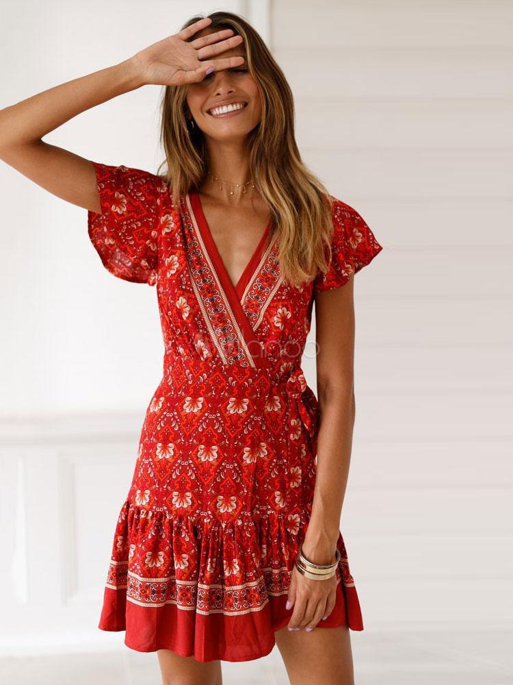 Robe rouge fleurs